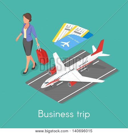 Isometric 3d vector concept of business trip. Business woman with travel case.