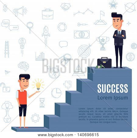 The man with the idea of climbing the ladder of success. Businessman with a briefcase of money is at the top of the stairs. Flat cartoon vector illustration.