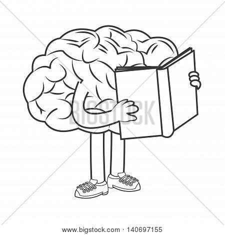 flat design human brain holding book icon vector illustration