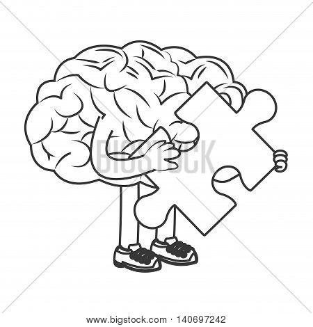 flat design human brain holding puzzle piece icon vector illustration