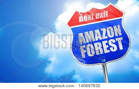 amazon forest, 3D rendering, blue street sign