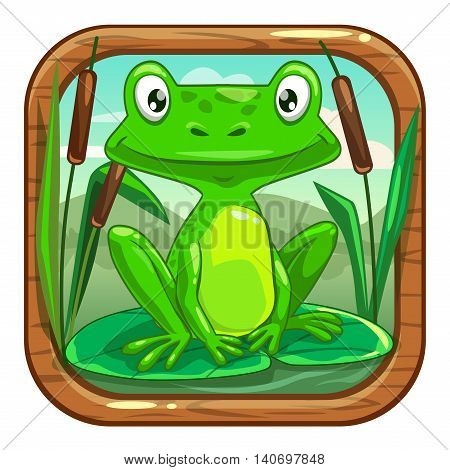 Funny app icon for application store logo with cute cartoon little green frog sitting on the leaf in the swamp. Kids game asset, vector illustration.