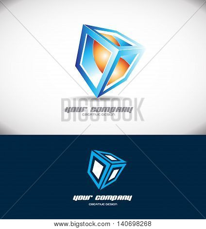 Vector company logo icon element template blue orange cube 3d design abstract