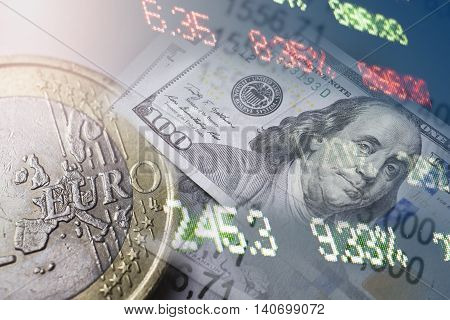 Finance and banking concept. Euro coins and us dollar banknote close-up. Abstract image of Financial system with selective focus, toned, double exposure.