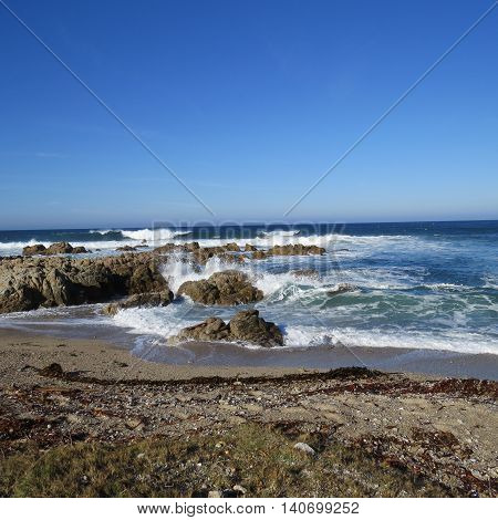 This is an image of the Asilomar State Preserve coastline in Pacific Grove, California, U.S.A..
