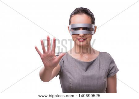 Futuristic concept with techno cyber woman isolated on white