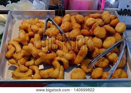 Deep fried dough sticks breakfast thai style.