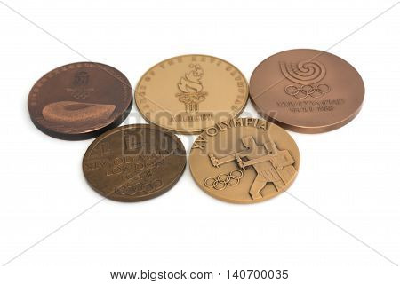 Collection Of Olympic Games Participation Medals. Kouvola, Finland 21.07.2015.