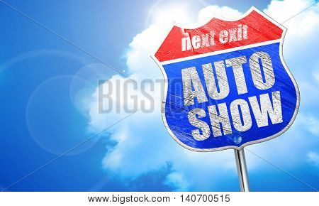 auto show, 3D rendering, blue street sign