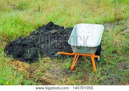 Work In The Garden In A Wheelbarrow Transported Soil
