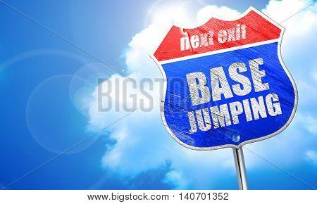 base jumping, 3D rendering, blue street sign