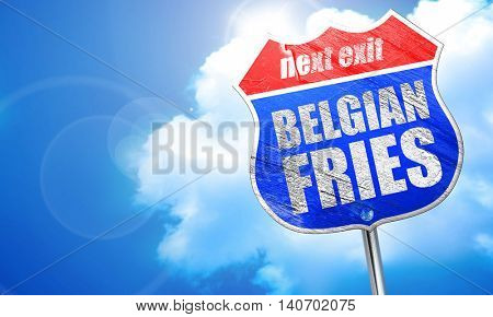 belgian fries, 3D rendering, blue street sign
