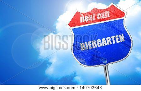 biergarten, 3D rendering, blue street sign