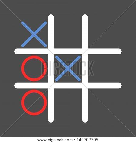 Tic tac toe game. Isolated vector icon illustration.