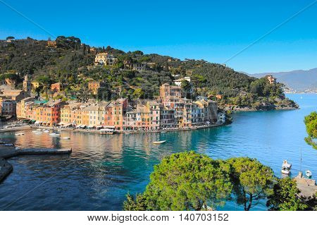 Portofino bay Italy panorama with blue sea.