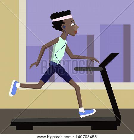 black man jogging at gym - cute colorful cartoon illustration