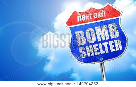 bomb shelter, 3D rendering, blue street sign