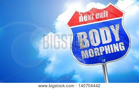 body morphing, 3D rendering, blue street sign