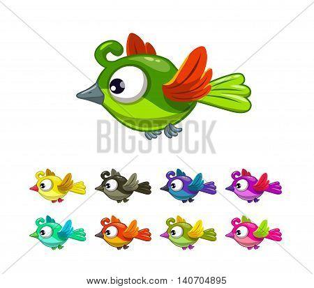 Little cute cartoon flying birds set, different color variations, vector illustration