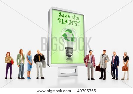 Miniature people- 3D illustration from people posing in front a billboard about ecology and environment
