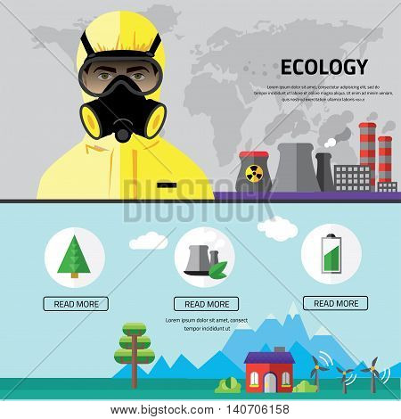 Factory landscape, Ecology Concept - industry factory. Ecology Concept Vector Icons Set for Environment, Flat style vector illustration.