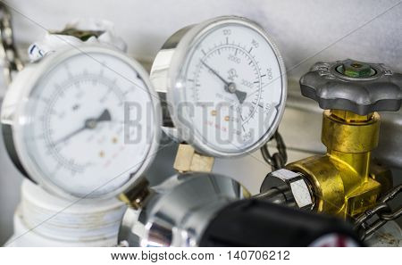 The gauge for measure and valve of gas cylinder