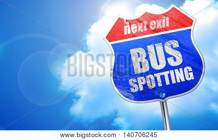 bus spotting, 3D rendering, blue street sign