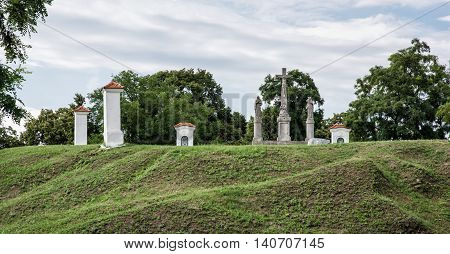 Calvary in Skalica city Slovak republic. Religious place. Cultural heritage. Travel destination.
