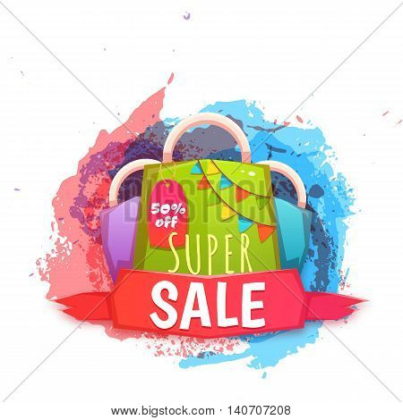 Big sale banner with color packet. Vector illustration.