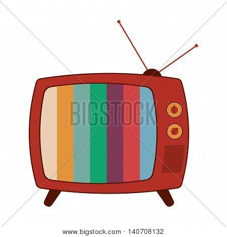 flat design retro classic tv with antenna and colored stripes on screen icon vector illustration