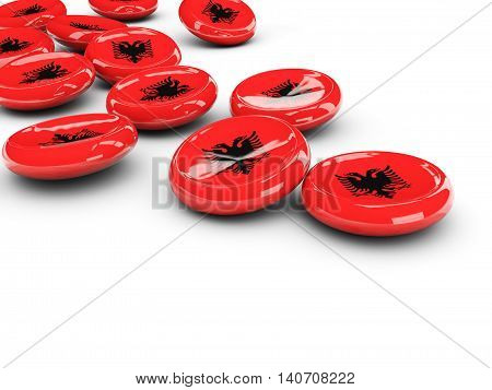 Flag Of Albania, Round Buttons
