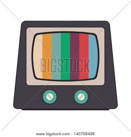 flat design retro classic tv and colored stripes on screen icon vector illustration