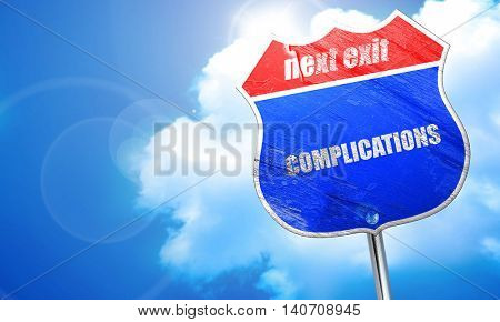 complications, 3D rendering, blue street sign