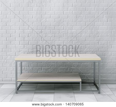 Simple Wooden Cocktail and Coffee Table in front of brick wall. 3d Rendering