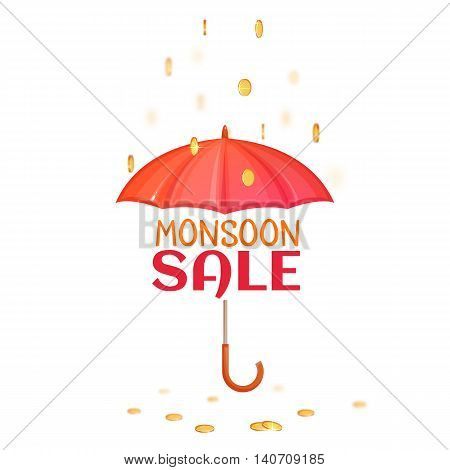 Monsoon salle banner with umbrella. Vector illustration.