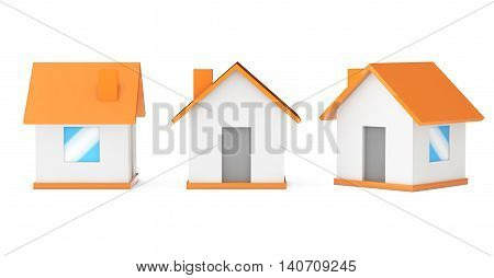 Cartoon Simple Small Houses on a white background. 3d Rendering