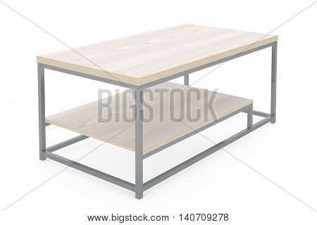 Simple Wooden Cocktail and Coffee Table on a white background. 3d Rendering