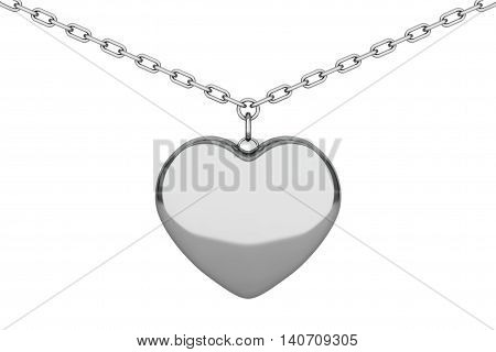 Silver Heart Medallion on chain over white background. 3d Rendering