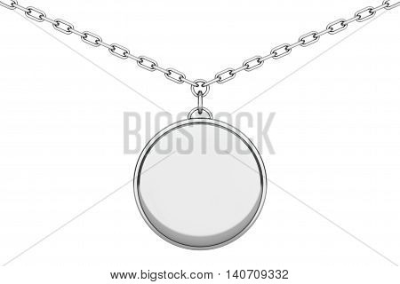 Silver Medallion on chain over white background. 3d Rendering