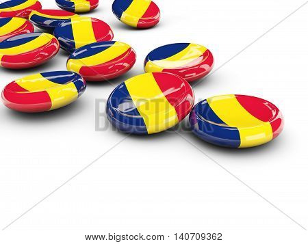 Flag Of Chad, Round Buttons