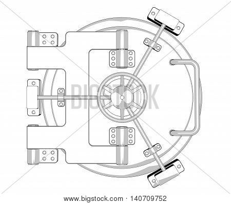 Bank Vault Door in Black and White Cartoon Style on a white background. 3d Rendering