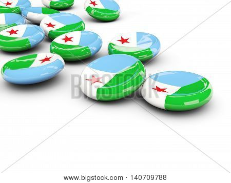 Flag Of Djibouti, Round Buttons