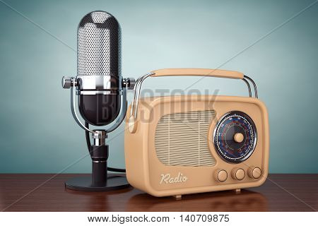 Old Style Photo. Retro Radio and Vintage Microphone on the wooden table. 3d Rendering