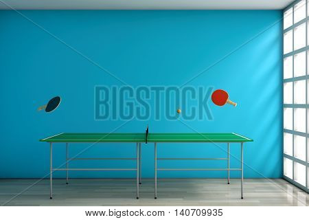 Ping-pong Tennis Table with Paddles against a blank blue wall in room. 3d Rendering
