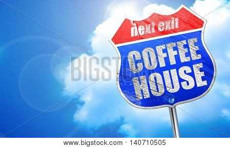 coffee house, 3D rendering, blue street sign