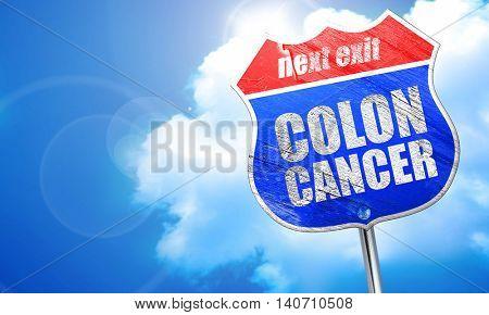 colon cancer, 3D rendering, blue street sign