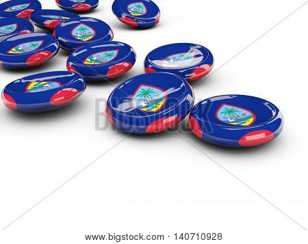 Flag Of Guam, Round Buttons