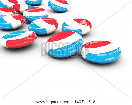 Flag Of Luxembourg, Round Buttons