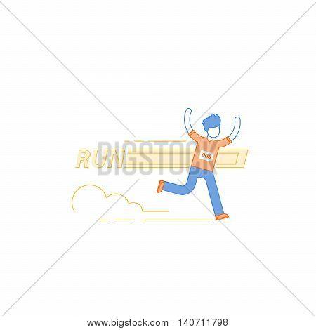 Running man, finish line, first winner, healthy lifestyle, marathon competition, triathlon contest, sport activity event