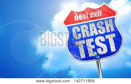 crash test, 3D rendering, blue street sign
